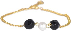 Fayon Black and White Pearls Alloy Anklet