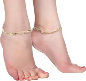 Kauberi Jewels Diva 3 Line Crystal Anklet(Pack of 2)