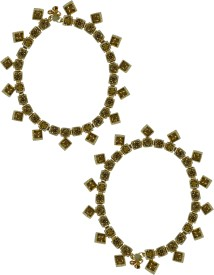 Zaveri Pearls Set of 2 Prismatic Gold Tone Zinc Anklet(Pack of 2)