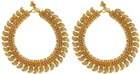 Muchmore South Indian Style Gold Plated Kundan Payal Anklet For Women Alloy Anklet(Pack of 2)