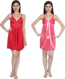 Ansh Fashion Wear Solid Babydoll
