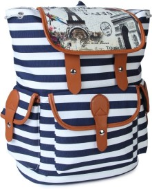 Kleio Striped Backpack in Canvas 26.8 L Backpack(Blue)