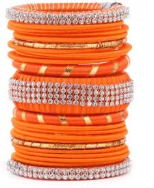 Kuhuk Plastic, Silk Dori Cubic Zirconia Bangle Set(Pack of 23)
