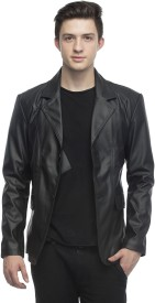 Lambency Solid Single Breasted Casual Men's Blazer(Black)