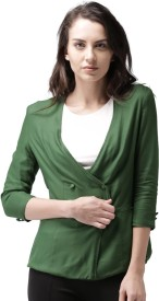 Mast & Harbour Solid Double Breasted Casual Women's Blazer(Green)