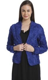 Vero Moda Self Design Single Breasted Casual Women's Blazer(Blue)