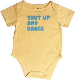 Blue Bus Store Slogan Baby Boy's Yellow Bodysuit