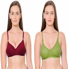 Janki Beautiful Best Quality Lovable Solid Maroon Green Combo Women's Push-up Maroon, Green Bra