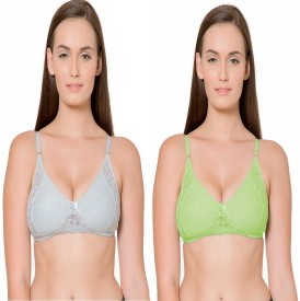 Janki Beautiful Best Quality Lovable Embroidered Skyblue Green Combo Women's Full Coverage Light Blue, Green Bra