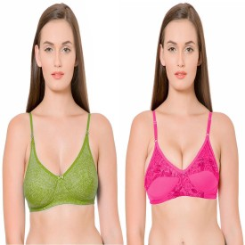 Janki Beautiful Best Quality Lovable Solid Green Pink Combo Women's Full Coverage Green, Pink Bra