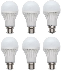 Gold 7W Plastic Body LED Bulb (White, Pack Of 6)