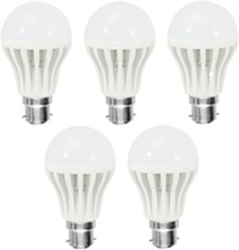 Gold 7W Plastic Body Warm White LED Bulb (Pack Of 5)