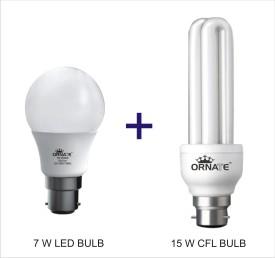 Ornate Combo Of 7W LED & 15W 2U CFL Bulbs (White)