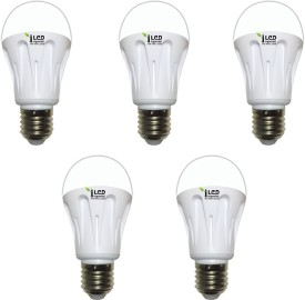 10W E27 1000L LED Aluminium Bulb (White, Pack of 5)