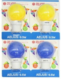 Polycab 0.5 W LED Bulb B22 Blue, Yellow (pack of 4)