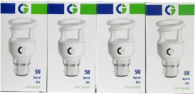 Greaves Mini Spiral 5 W CFL Bulb (Cool Daylight, Pack of 4)