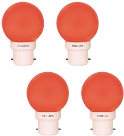 Philips 0.5 W LED B22 Bulb Red (pack of 4)