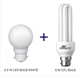 Ornate Combo Of 0.5W LED & 8W CFL Bulbs (White)