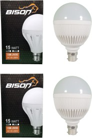 Bison 15W B22 LED Bulb (White, Set Of 2)