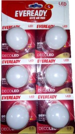 0.5 W LED Bulb (White, Pack of 6)