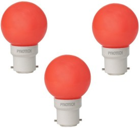 Pyrotech 0.5W LED Bulb (Red, Pack of 3)