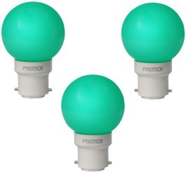 Pyrotech 0.5W LED Bulb (Green, Pack of 3)