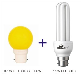 Ornate Combo Of 0.5W LED (Yellow) & 15W 2U CFL Bulbs (White)