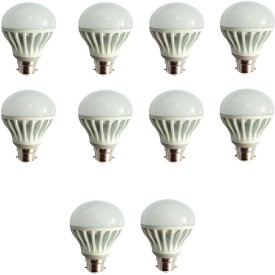 Gold 12W Plastic Body Warm White LED Bulb (Pack Of 10)
