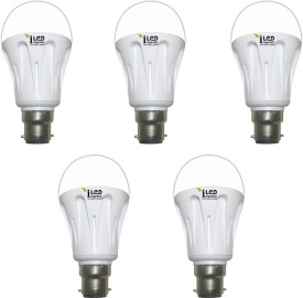 10W B22 1000L LED Aluminium Bulb (Yellow, Pack of 5)