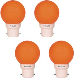 Philips 0.5 W LED Decomini Bulb B22 Orange (pack of 4)