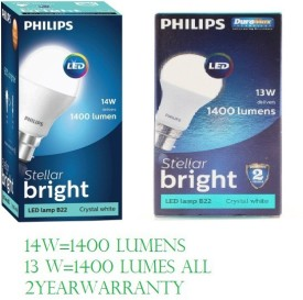 Philips 14 W And 13 W LED Bulb (White, Pack of 2)