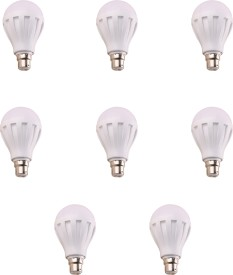 12W B22 White LED Bulb (Plastic, Pack of 8)