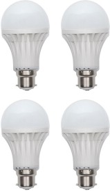 Gold 9W Plastic Body Warm White LED Bulb (Pack Of 4)