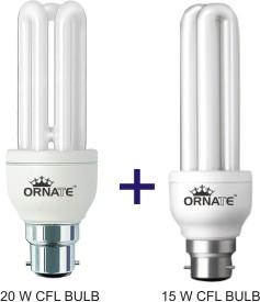 Ornate Combo Of 20W-3U & 15W-2U CFL Bulbs (White)