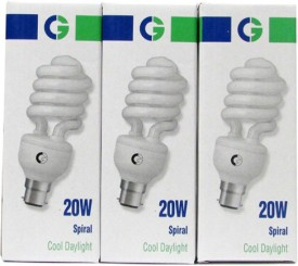 Greaves 20 W Spiral CFL Bulb (Cool Daylight, Pack of 3)