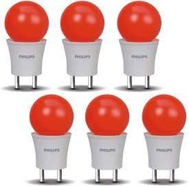 Philips 0.5 W LED Joyvision-Plug N Play Bulb Red (Pack Of 6)