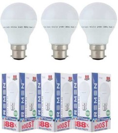 REMEN 7W B22 LED Bulb (White, Set of 3)