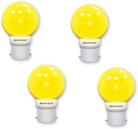 REMEN 0.5W B22 LED Bulb (Yellow, Pack of 4)