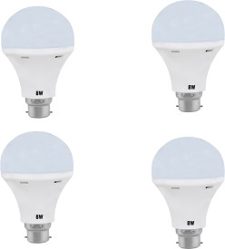 Daylight 8W B22 LED Bulb (White, Set Of 4)