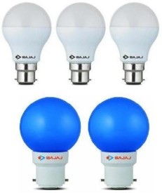 Bajaj 7W White And 0.5W Blue LED Bulbs (Pack of 5)