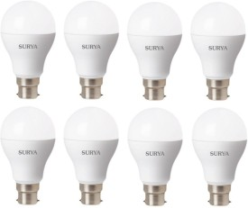 9 W LED B22D Bulb (White, Pack of 8)