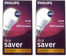 9.5 W B22 800L Yellow LED Ace Saver Bulb (Pack of 2)