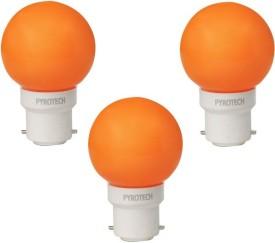 Pyrotech 0.5W B22 LED Bulb (Orange, Pack of 3)