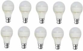 Gold-9W-Plastic-Body-Warm-White-LED-Bulb-(Pack-Of-10)