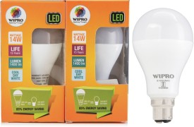 Wipro 14 W LED 6500K Cool Day Light Bulb B22 White (pack of 2)