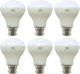 Super Bright 9W LED Bulb (White, Pack of 6)