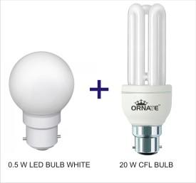 Ornate Combo Of 0.5W LED & 20W 3U CFL Bulbs (White)