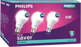 Philips 9 W LED B22 Cool Day Light Bulb White (pack of 3)
