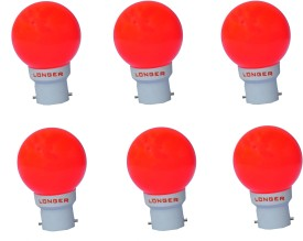 Longer 0.5 W Deco Eco LED Bulb B22 Red (pack of 6)