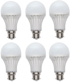 12W Plastic 450 Lumens White LED Bulb (Pack Of 6)